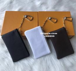 Vendita calda 4 colori Portachiavi Portafoglio con cerniera Portafogli in pelle con monete Borsa del progettista delle donne con scatola arancione da
