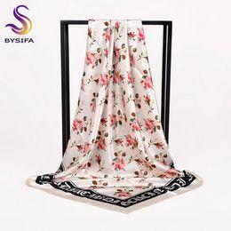 Inverno nero bianco signore sciarpa di seta Hijab Nuove rose cinesi modello raso quadrato sciarpe avvolge primavera autunno sciarpa testa musulmano supplier ladies white silk scarf da sciarpa di seta bianca delle signore fornitori