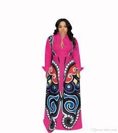 Túnica floral sexy online-Rosa rojo Gran Swing vestidos de impresión africanos ropa de mujer más tamaño sexy elegante vestido de impresión de mariposa túnica Africaine diseño ropa