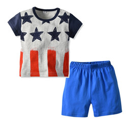 toddler boy thanksgiving Promo Codes - 4th of july kids summer clothes boys outfits thanksgiving outfits 2019 toddler clothing christmas outfit geometric boy blue shorts