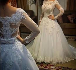 2019 pérola botão de volta vestido de noiva Hot 2019 Nova Chegada Vestidos de Casamento de Manga Comprida Sheer Tulle Voltar Botão Vestidos de Noiva Pérolas Vestidos De Casamento Vestido de Noiva desconto pérola botão de volta vestido de noiva