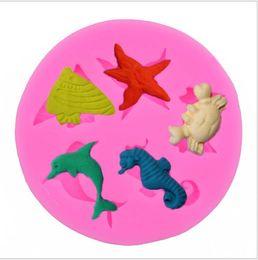 estrella de mar para decoracion Rebajas Molde de silicona 3D Seahorse estrella de mar delfín decoración de pasteles moldes de fondant de silicona animales marinos pastel para hornear moldes decoración de pasteles regalos