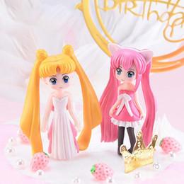 Figurine per pasticciere di torta online-1 Pz Fata miniatura Figurine Sailor Moon Cake Topper Dollhouse Giardino Ornamento Decorazione Crafts Figurine torta Decor Strumenti