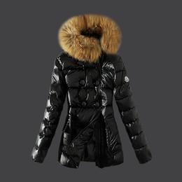 Chaquetas diagonales con cremallera online-Ropa interior de la chaqueta de downs de las mujeres Gruesa chaqueta de botón de cremallera diagonal de invierno cálido cuello de piel chaqueta de mujer Abajo Parka Coat S - XL Envío gratis