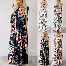 Túnicas noturnas on-line-Maxi dress verão floral imprimir vestidos longos boho beach dress túnica evening party vestidos de verão largos mujer