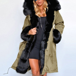 2019 dünne daunenjacke frauen grün Naiveroo Wintermantel Luxus-Frauen-Pelz-beiläufige warme Kapuzenshirt Parka Lange Graben-Jacken-Oberbekleidung Übergrößen Plus-S-3XL