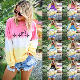 traje de camiseta atado Rebajas 8styles Girls Rainbow Gradient Sweatshirts Long Sleeves Crew Neck Pullover Tops Tee Loose t-shirt Tie Dye outdooor Sweater Outfit FFA2958-1