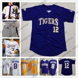 2019 NCAA LSU Tigers отставной бейсбол # 10 Аарон Нола 5 Hill 17 LeMahieu 12 Кевин Гаусман Фиолетовый Белый Желтый Кремовый Серый Полосатый Джерси от