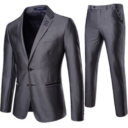 Männer graue farbe passt stile online-Mens Hochzeit Anzüge einfarbig 2 Stück Set grau Smoking Jacke und Hose Slim Fit Bräutigam Anzug Stile hohe Qualität berühmte Marke XF012