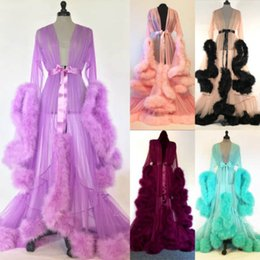 Sexy Spitze Nachtrobe Frauen Kimono Nacht Maxi Kleid Kleid Mesh Langarm Pelz Babydoll Party Nachtwäsche Nachtrobe Roben von Fabrikanten