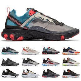 gold elements Coupons - 2019 Chaussure Best Mens Trainers React Element 55 87 Designer Sports Black Gold Orange Men Women Sneakers Running Shoes