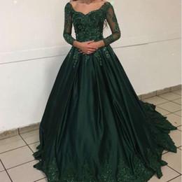 verde azeitona bola vestidos Desconto Bateau verde escuro Quinceanera vestidos fora do ombro ilusão mangas compridas Lace apliques frisado vestido de baile ocasião especial Prom vestidos