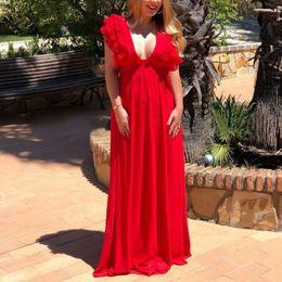 Свадебные платья установлены талии онлайн-Сплошной сексуальный глубокий V-образным вырезом с высокой талией платья спинки свадебное платье женщины оборками летающий рукав Fit и Flare длинное платье