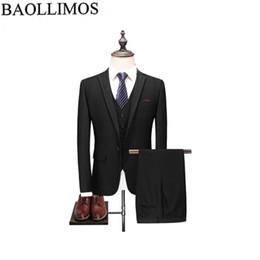 2019 мужские сплошные серые костюмы Men Dress Suits 2019 Slim Fit 3 Piece Black Blue Grey Wedding Suits For Men Latest Business Formal Mens Solid Suit скидка мужские сплошные серые костюмы