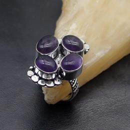 gemas de casamento roxas Desconto Multi Gems Antique Quartzo Roxo 925 Sterling Silver Engagement Anéis de Casamento 7 # AK126