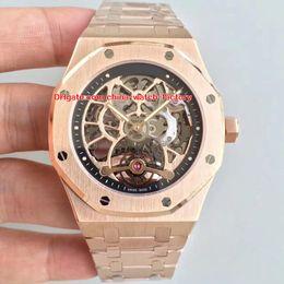 Лучшие часы механического скелета онлайн-2 стиль роскошь высокое качество лучший завод 44 мм оффшорные розовое золото 18 карат скелет швейцарские механические прозрачные автоматические мужские часы