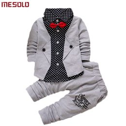 6070194a894 2019 Baby Boys Autumn Casual Clothing Set Baby Kids Button Letter Bow  Clothing Sets Babe jacket + pant 2-Piece Suit Set