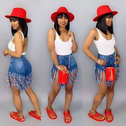 Jeans femme en Ligne-Summer Women Short Tassel Jeans Jeans Taille Haute Designer De Mode Vintage Shorts Jeans Femme Pantalon Maigre