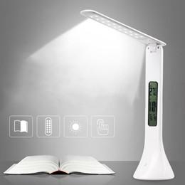 2019 luz da mesa led fold USB LED Lâmpada de Mesa Ajustável Mesa Dobrável Luz com Relógio Despertador Temperatura Calendário Atmosfera Luzes Estudo luz da noite desconto luz da mesa led fold