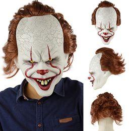Mascara de silicona completa online-Stephen King's Joker Mask Silicone Movie Full Face Horror Payaso Máscara de látex Máscaras de fiesta de Halloween Horrible Cosplay Prop Toy TTA1789