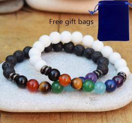 jade original Rabatt 7 Chakra weiße Jade-Lava-Perlen mit schwarzem Gallenstein-Armbandarmband für Männer und Frauen