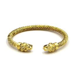 Mode Personalisierte Drachenkopf Öffnung Viking Armbänder Gold Silber Legierung Punk Manschette Armband Armband Bijoux Schmuck Für Männer von Fabrikanten