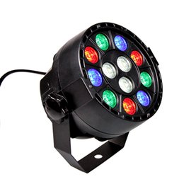 2019 iluminación lumiere 12x1w RGBW DMX512 LED Par Light Sound activado Disco DJ Stage Light Lumiere para boda Show KTV Bar Proyector rebajas iluminación lumiere