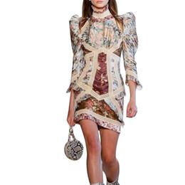2019 support de manche Robe imprimée vintage pour femmes stand manches bouffantes taille haute évider mini robes mode femme 2019 été support de manche pas cher