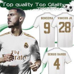Camisetas de fútbol de bala online-# 7 HAZARD 2020 Real Madrid Soccer Jersey Home White 19/20 # 9 BENZEMA # 12 MARCELO Soccer Shirt # 11 BALE Camisetas de fútbol talla S-4XL