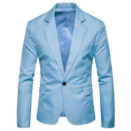 Abrigo informal de negocios online-Puimentiua Hombres Color sólido Blazers Traje casual Marcas Hombre Delgado Boda Negocio Traje pequeño Chaqueta con un solo botón Abrigos
