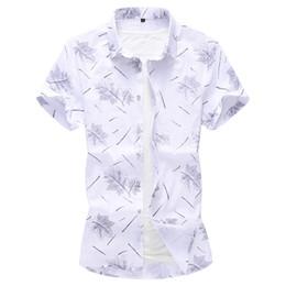 a7427130a22a9 M-7XL mens chemises casual slim fit haute qualité chemise hawaïenne hommes  été 2019 lin taille plus chemise à manches courtes floral hommes chemises  en lin ...