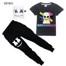 2019 fato de treino 2pc Marshmello outfit para big boy girl sport set roupas dj música kid boutique camiseta + calças 2 pc treino crianças terno roupa desconto fato de treino 2pc