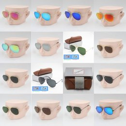 0712c59328e 1pcs designer brand new classic pilot sunglasses fashion women sun glasses  UV400 gold frame green mirror 58mm lens with box