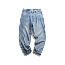caldo pantaloni giapponesi Sconti Moda Uomo allentato Pencil Jeans Distrressed lavato lunga casuale ansima la lunghezza maschio Hot Sell Stagioni Jeans