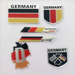 car flags stickers Promo Codes - 2019 New Fashion quality 3D Aluminum Germany Flag car Badge Emblem 3M sticker accessories stickers For VW Audi chevrolet honda Car Styling