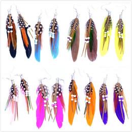 2019 boucles d'oreilles multiples Boucles d'oreilles pendantes pour femmes Belles boucles d'oreilles pendantes en plumes avec perles multiples promotion boucles d'oreilles multiples