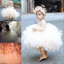 2019 flor menina vestidos crianças marfim Vestidos da menina de flor do bebê da criança para o casamento de manga longa rendas vestidos de tule com arco marfim branco vestidos de pageant menina de champanhe flor menina vestidos crianças marfim barato