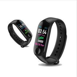 Precios de rastreadores de fitness online-Precio de fábrica para mi banda de presión 4 Inteligente venda de reloj de pulsera de la pulsera rastreador de ejercicios Sangre del ritmo cardíaco M3plus SmartWatch envío de la gota