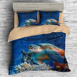 Set di biancheria da letto 3D Tartaruga marina Stampa Copripiumino completo di biancheria da letto realistica con federa tessile per la casa da