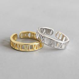 weißgold nummer 925 Rabatt Neue Einfache 925 Sterling Silber Römische Zahlen Offene Größe Ringe Für Frauen Edlen Schmuck Weißgold / 18 karat Gold Farbe Einstellbare Ring
