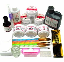 kits de uñas acrílicas formas Rebajas Gel UV Juegos de polvos acrílicos 120ml Pinceles Nail Art Tips Base Kit Forma Top Coat Kit para herramientas de manicura