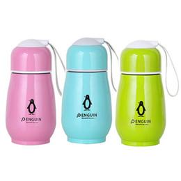 2020 botellas de agua de acero para niños 280ML Penguin Water Bottle Kids Taza de acero inoxidable Taza de doble capa 4 colores Vasos Cute Frasco de vacío Termos Tazas GGA2130 botellas de agua de acero para niños baratos