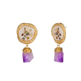 Bunte Muschel Ohrringe Natürliche Perle Lila Kristall Stein Ohrbügel Legierung Barock Süßwasser Weiß Mutter Rosa Tropföl Perle Ohrringe Frauen von Fabrikanten