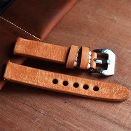 2019 scrub arancione Cinturino orologio vintage in vera pelle vintage 18mm 20mm 22mm Cinturino orologio vintage con fibbia brillante #C scrub arancione economici