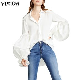 woman blouses evening Promo Codes - 2019 Vintage Evening Party Lantern Sleeve Shirts Bohemian Sexy Beach Loose VONDA Elegant Blouse Blusas Tops Tunic 5XL Women Plus