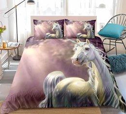Set biancheria da letto rosa per bambini online-Set copripiumino Unicorno rosa set biancheria da letto realistico 3D set 3 pezzi Dreamy kids ragazze tessili per la casa copripiumino dropship