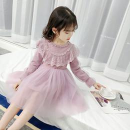 vestido de manga longa de 18 meses Desconto Primavera novas crianças meninas roupas princesa denim dress crianças vestidos da menina sopro manga lace dress 4-10 anos bonito partido