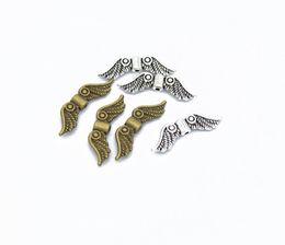 2019 remendos de animais bordados por atacado 2019 Liga De Metal Spacer Beads Asa Padrão De Prata Dourado Antigo Galvanoplastia Sobre 24mmx7mm, Buraco: Aprox 1mm