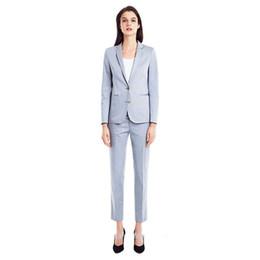 Vestiti delle donne Pantalone blu chiaro delle donne dello scialle delle donne Risvolto per le donne Vestito da lavoro di affari di due bottoni Vestiti dei pantaloni delle signore da vestiti blu chiaro per le donne fornitori