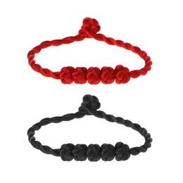 Chinesisches knotenseil online-JAVRICK chinesisches Feng Shui glückliches Seil Bügel Armband 5 geknotete Korne roter Schnur Schmuck vorzügliches Armband
